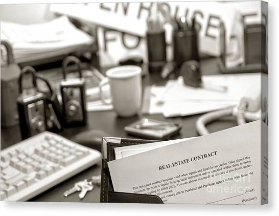 Binders Canvas Print - The Busy Realtor  by Olivier Le Queinec