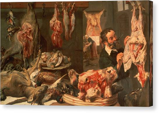 Steak Canvas Print - The Butcher's Shop by Frans Snyders