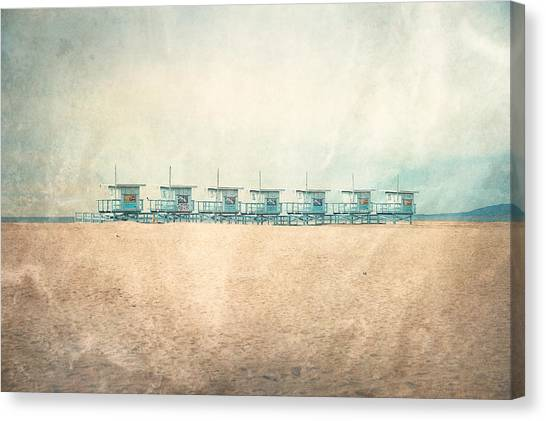 Lifeguard Canvas Print - Venice Cabins by Nastasia Cook
