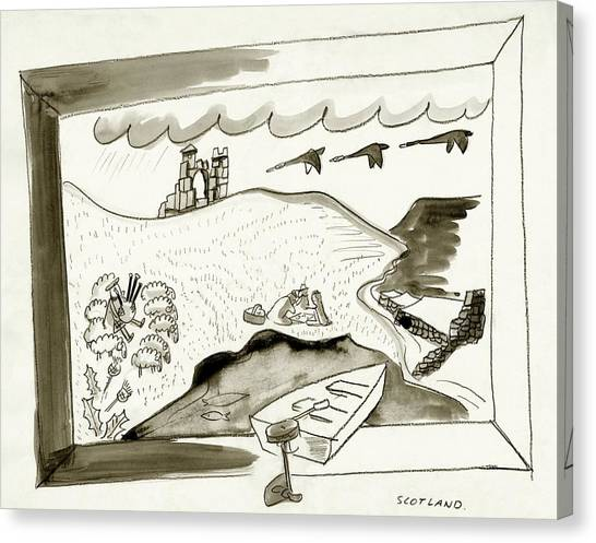 The Caledonian Canal In Scotland Canvas Print by Ludwig Bemelmans