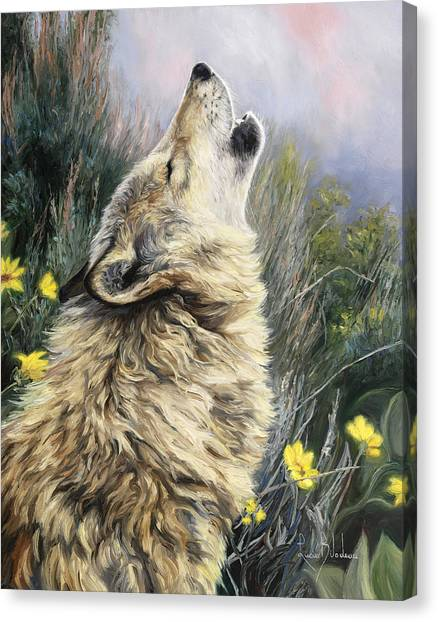 Howling Wolves Canvas Print - The Call by Lucie Bilodeau