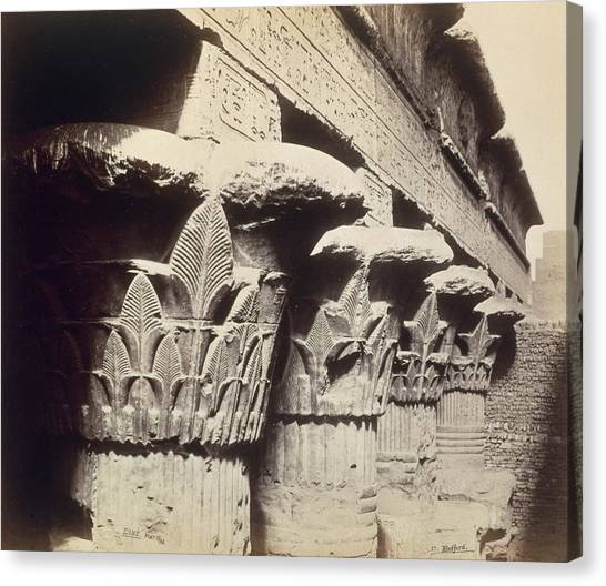 Egyptian Art Canvas Print - The Capitals Of The Portico Of The Temple Of Khnum In Esna by Francis Bedford