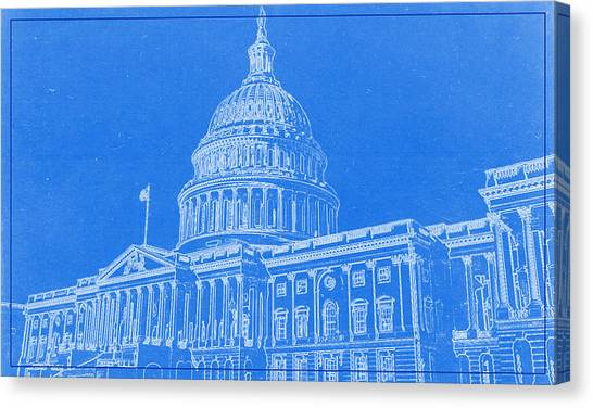 Michigan capitol canvas prints fine art america michigan capitol canvas print the capitol blueprint by celestial images malvernweather Images