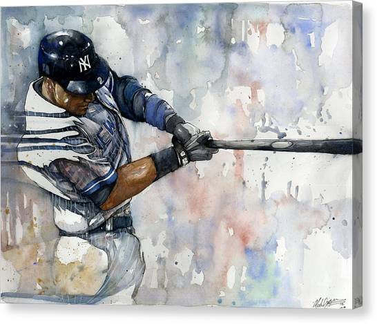 Athlete Canvas Print - The Captain Derek Jeter by Michael  Pattison