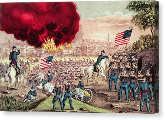 Currier And Ives Canvas Print - The Capture Of Atlanta By The Union Army by Currier and Ives
