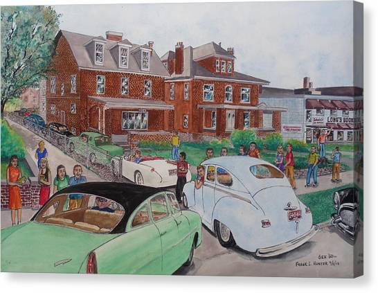 Pi Kappa Phi Canvas Print - The Car Movers Of Phi Sigma Kappa Osu 43 E. 15th Ave by Frank Hunter