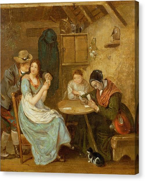 Mistletoe Canvas Print - The Card Players Oil On Panel by John Burnet