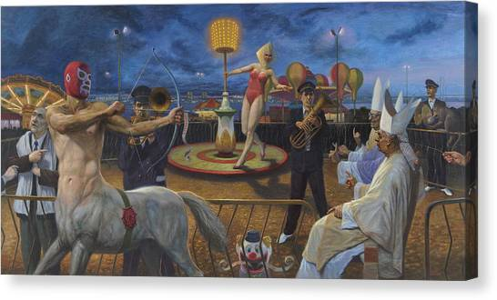 Minotaur Canvas Print - The Cardinals And The Universe by Alfredo Arcia
