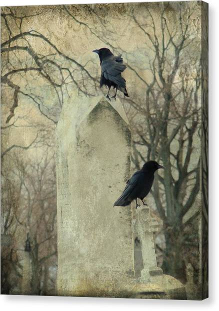 Ravens In Graveyard Canvas Print - The Caretakers by Gothicrow Images
