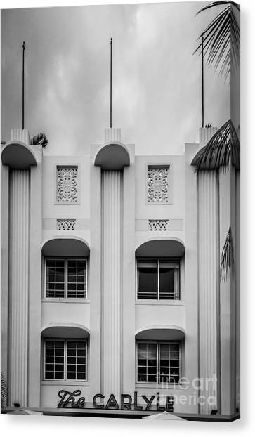 Scarface Canvas Print - The Carlyle Art Deco Detail South Beach Miami - Black And White by Ian Monk