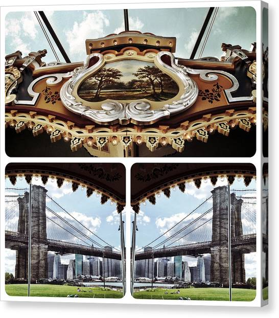 The Carousel And The Bridge Canvas Print
