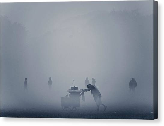 The Cart In The Fog Canvas Print by Www.sayantanphotography.com