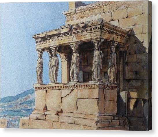 The Acropolis Canvas Print - The Caryatid Porch Of The Erechtheion by Henrieta Maneva