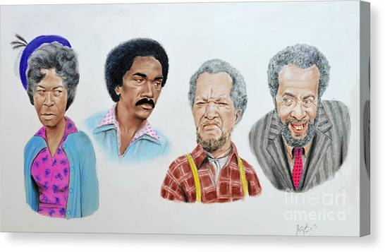 Junk Canvas Print - The Cast Of Sanford And Son  by Jim Fitzpatrick