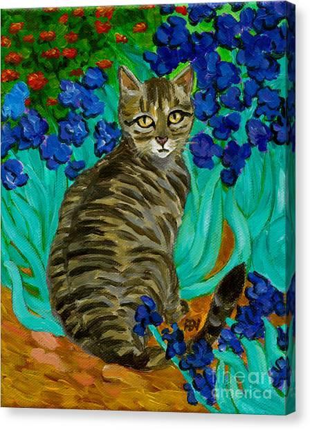 The Cat At Van Gogh's Irises Garden Canvas Print