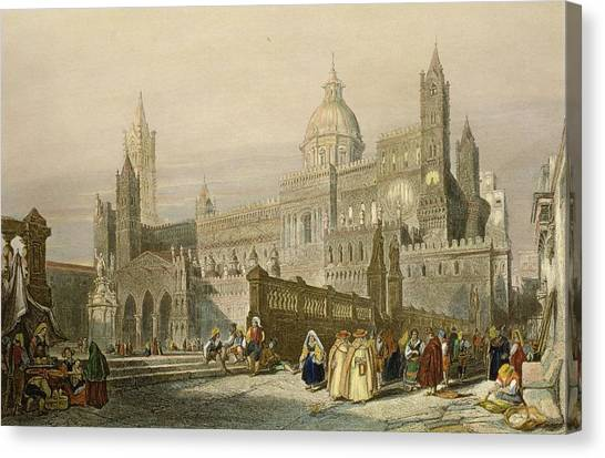 Priests Canvas Print - The Cathedral At Palermo, Sicily by William Leighton Leitch