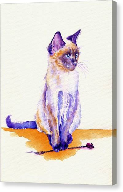 Siamese Canvas Print - The Catmint Mouse Hunter by Debra Hall