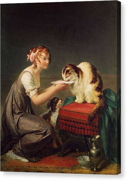 Saucer Canvas Print - The Cats Lunch Oil On Canvas by Marguerite Gerard