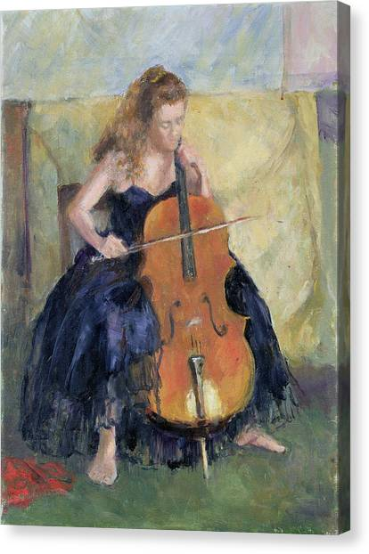 Cellos Canvas Print - The Cello Player, 1995 by Karen Armitage