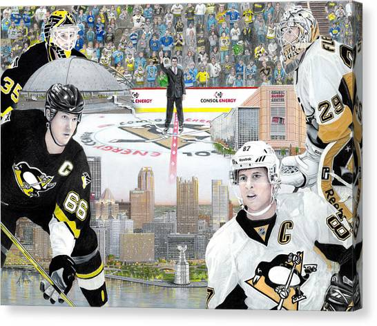 Pittsburgh Penguins Canvas Print - The Changing Of The Guard by Albert Puskaric