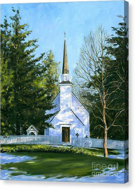 Artist Michael Swanson Canvas Print - The Chapel Of The Mohawks by Michael Swanson