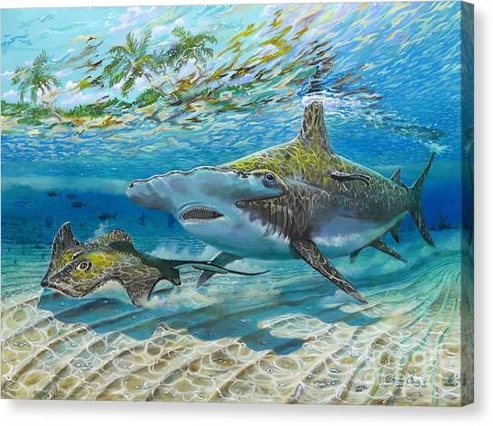 Spearfishing Canvas Print - The Chase by Carey Chen