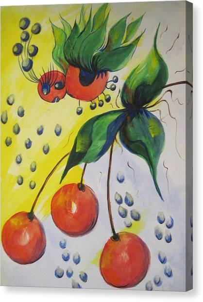 The Cherry Fairy Canvas Print by Shirley Watts
