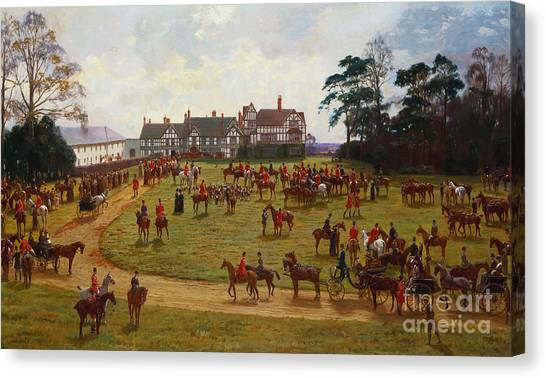 Hunt Canvas Print - The Cheshire Hunt    The Meet At Calveley Hall  by George Goodwin Kilburne