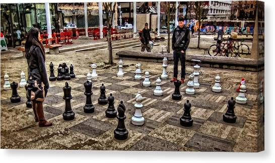 The Chess Match In Portland Canvas Print