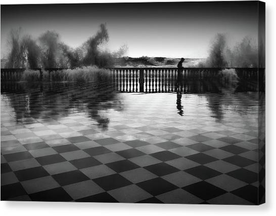 Checker Canvas Print - The Chessplayer by Paolo Lazzarotti