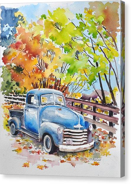The Old Chevy In Autumn Canvas Print