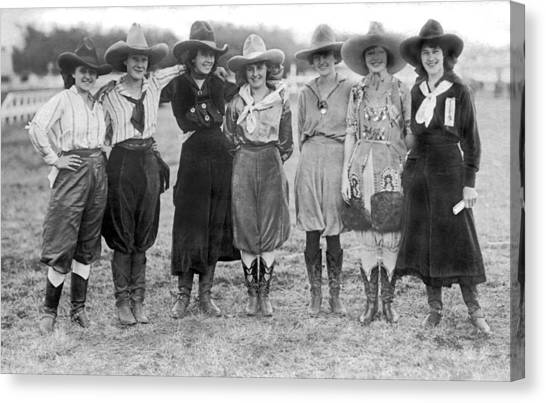 Ethnicity Canvas Print - The Cheyenne Rodeo Roundup Cowgirls by Underwood Archives