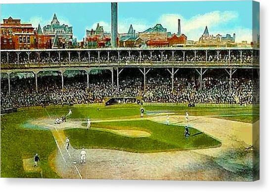 The Chicago Cubs West Side Grounds Stadium In 1913 Canvas Print