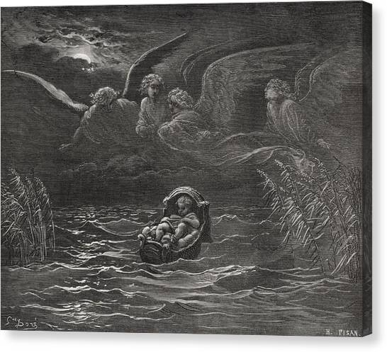 The Nile Canvas Print - The Child Moses On The Nile by Gustave Dore