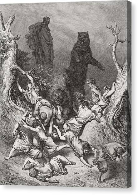 Holy Bible Canvas Print - The Children Destroyed By Bears by Gustave Dore