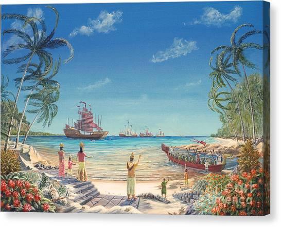 The Chinese Treasure Fleet Arrives Canvas Print