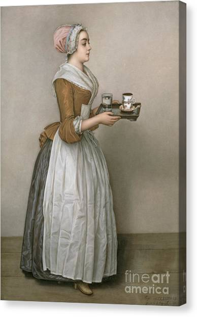 Coffee Canvas Print - The Chocolate Girl by Jean-Etienne Liotard