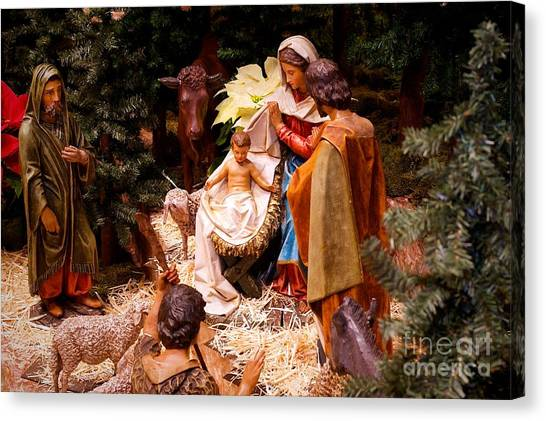 The Christmas Creche At Holy Name Cathedral - Chicago Canvas Print