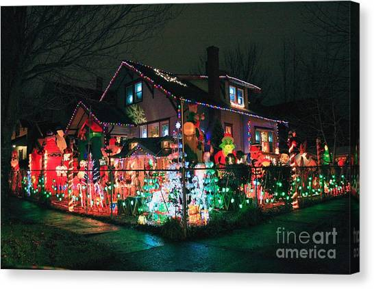 Grinch Canvas Print - The Christmas Inflatables House 2010 by Chris Anderson