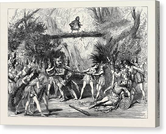 Garden Scene Canvas Print - The Christmas Pantomimes Scene From Red Riding Hood by English School