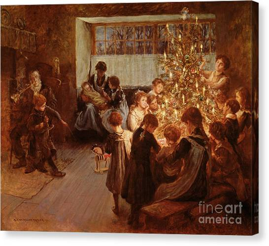 December Canvas Print - The Christmas Tree by Albert Chevallier Tayler
