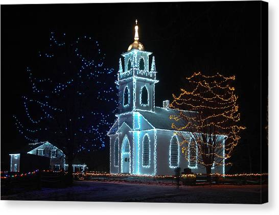 The Church - Alight At Night. Upper Canada Village Canvas Print