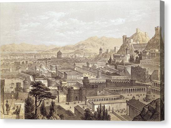The Amphitheatre Canvas Print - The City Of Ephesus From Mount Coressus by Edward Falkener