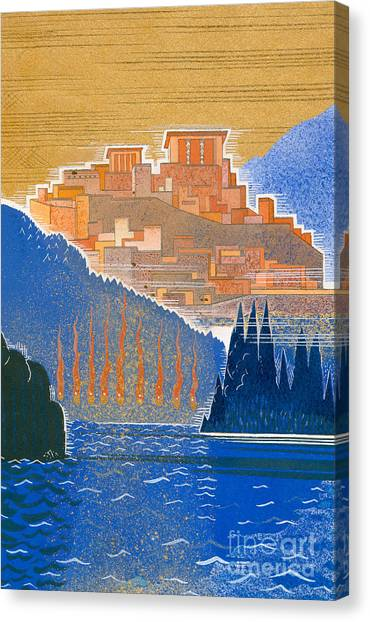 Hellenistic Art Canvas Print - The City Of Troy From The Sea by Francois-Louis Schmied