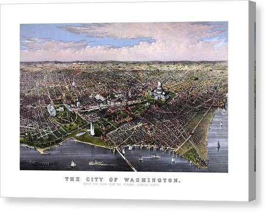 Washington Monument Canvas Print - The City Of Washington Birds Eye View by War Is Hell Store