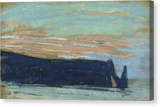 Etretat Canvas Print - The Cliff At Etretat, C.1885 Pastel by Claude Monet