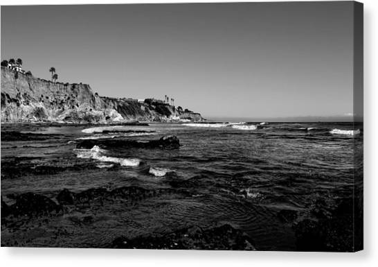 The Cliffs Of Pismo Beach Bw Canvas Print