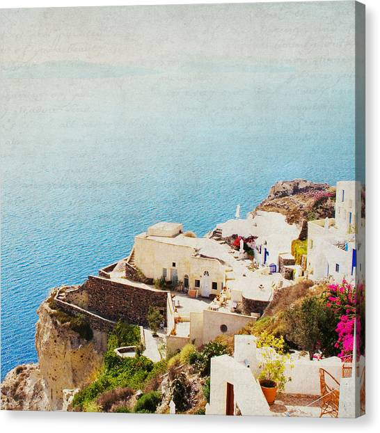 The Cliffside - Santorini Canvas Print