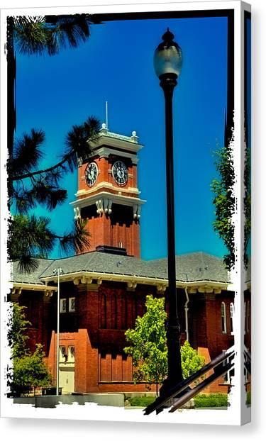Washington State University Canvas Print - The Clock Tower At Bryan Hall - Washington State University by David Patterson