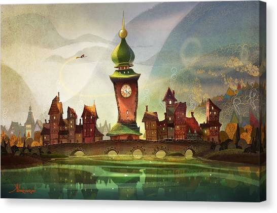 Witch Canvas Print - The Clock Tower by Kristina Vardazaryan